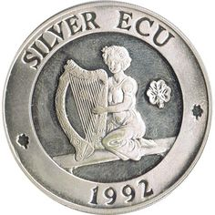 Moneda de plata Silver ECU Europa Nueva Irlanda 1992 Piedfort.
