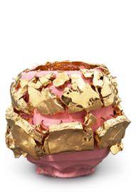Pink-slipped Gold Kairagi Shino bowl