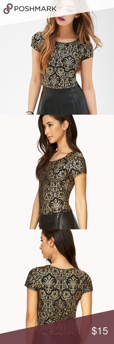 Forever21 • Baroque gold top Forever 21 baroque print metallic gold and black top. Size M. Forever 21 Tops