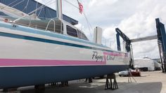 This sail Catamaran took a serious beating and came to us to get fixed up.Some of the work included some fiberglass repair. How does it look?