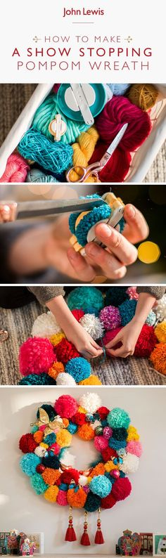 Craft a showstopping decoration with a handmade pom pom wreath. Create a unique Christmas decoration. Pom Pom Crafts, Yarn Crafts, Homemade Christmas, Diy Christmas Gifts, Diy Projects For Bedroom, Diy Bedroom, Pom Pom Wreath, Unique Christmas Decorations, Christmas Makes