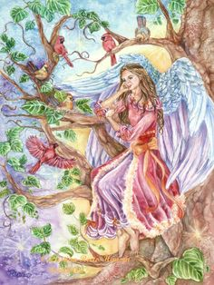 Angel Art in Victorian Burgundy Gown with Tinsel Trimming Sitting in Tree with Red Cardinals and Nest Angel Art Print,11x 14 art  print via Etsy  {Christina Hansen, artist}