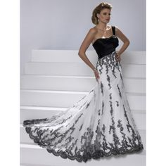 Gorgeous Colored One Shoulder Wedding Gowns With Black Lace Hiwdc53.......Love this!!! Bebe'!!!