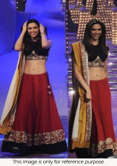 Bollywood Actress Deepika Padukone Heavy Rawsilk Paper lehenga at just dance set in red and black colo