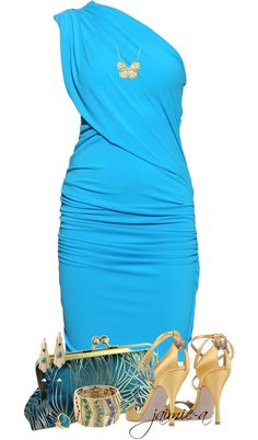 Elegant sky blue sleeveless fitted sheath dress sooooo elegant and classy! Paired with sequins and glass beads on clutch handbag and jeweled sandal heels. Accessorized with gold jewelry! Spring's 2020 formals, and special events! Dressy Outfits, Night Outfits, Chic Outfits, Pretty Dresses, Beautiful Dresses, Vestidos Retro, Casual Chique, Look Fashion, Womens Fashion