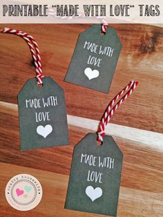 free printable made with love tags that are perfect for wrapping up your diy…
