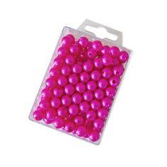 Dekoperlen 10 mm zum Fädeln - Box mit ca. 115 Stück - pink