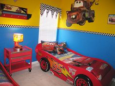 Disney Cars Bedroom Decor Awesome Disney Cars themed Bedroom In 2019 Things I Love Disney Cars Room, Disney Kids Rooms, Hot Wheels Bedroom, Boys Car Bedroom, Bedroom Themes, Bedroom Decor, Bedroom Sets, Bedroom Furniture, Racing Bedroom