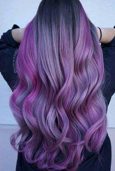 The Index of Hair: Photo Long Purple Hair, Balayage Hair Purple, Hair Color Purple, Color Your Hair, Purple Ombre, Lavender Hair, Lilac Hair, Coachella Hair, Gorgeous Hair Color