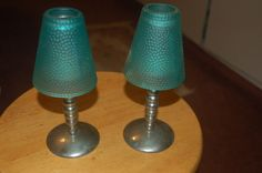 "VTG. Dayton Hudson 2 Stainless Steel & Green Shade Candle Holders/ Lamps 8 1/4"" #DAYTONHUDSON #RETRO"