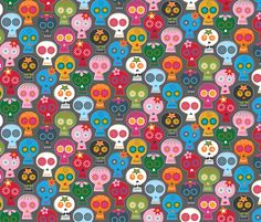 CALAVERA ON GRAY fabric by katerhees on Spoonflower - custom fabric