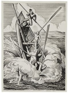 Rockwell Kent, Illustration for Moby Dick, Chapter CXXXV, 1929. Pen and ink on paper; 10 x 7 in. Gift of E. Weyhe, 1955.398.