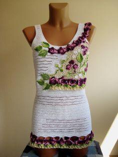 Elegant ladies blouse hand woven white blouse by BoryanacrochetBG