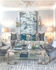 Yesterday we felt the first feel of cool weather in Atlanta 🌬🌬🌬🌬all I can say is I wasn't ready 😬😬 eeeek! Have you pulled the jackets out yet? Silver Living Room, Teal Living Rooms, Living Room Turquoise, New Living Room, Living Room Designs, Living Room Decor, Classic Living Room, Elegant Living Room, Decoration Inspiration
