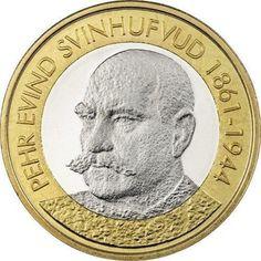 FINLANDIA-2016-5-EURO-3-PRESIDENTE-FINLANDIA-P-E-SVINHUFVUD Euro Coins, History, Design, Presidents, Coins, Coin Art, Finland, Door Bells, Tips And Tricks
