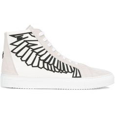 "Marcelo Burlon ""Coralie Wings"" Shoes ($310) ❤ liked on Polyvore featuring men's fashion, men's shoes, men's sneakers, white, mens leather shoes, mens white leather shoes, mens leopard print shoes, red wing mens shoes and mens lace up shoes"