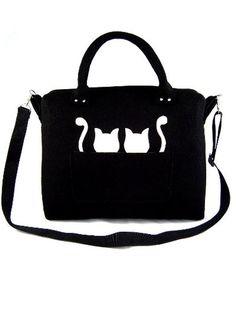 80016b80518 Cats handbag Felt purse Bag for women Black bag Felt bag Designer handbag  Felt shoulder bag