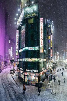 Snow in Shinjuku, Tokyo, Japan - omg, I had that same view Japon Tokyo, Shinjuku Tokyo, Places To Travel, Places To Visit, Tokyo Streets, Tokyo City, Tokyo Japan Travel, Japan Street, Nocturne