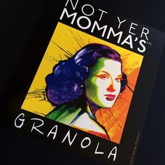 The sticker label for the Who's Yer Momma's Granola. This label looks wonderful on the black bag for the product.