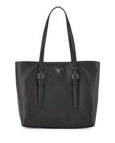 V2FJC Prada Saffiano Soft Tote Bag, Black (Nero)