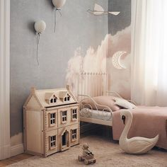Who says your kid's room needs to look like a rainbow exploded in it? This look is all about soft, whimsical style and elegance that your… Baby Bedroom, Girls Bedroom, Nursery Wall Decor, Bedroom Decor, Whimsical Bedroom, Cool Kids Bedrooms, Kids Rooms, Little Girl Rooms, Decoration
