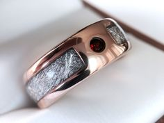 $299  Rose Gold Meteorite Ring with Ruby Stone Setting, Meteorite Tungsten Ring  www.ringsparadise...