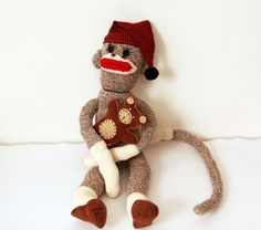 Vintage 60s 70s Sock Monkey with his bear