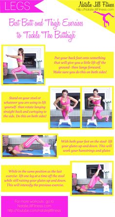 """Attack of the """"Butt-Thigh!"""" Exercises you can do anywhere with a small stool or bench! Click the image to view the full VIDEO version of the workout"""
