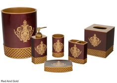 Victorian Bathroom Accessories Set 6 PC Red Gilded Decor Elegant Luxury Bath NEW #Unbranded