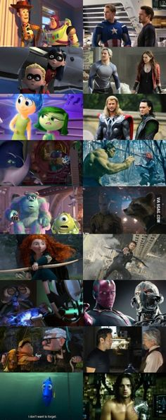 "So Marvel's Characters And Pixar's Characters Are Basically The Same  ""Ah you make me ink """