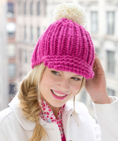 Knitted Ribbed Hat with Brim- FREE pattern.  love this hat looks like crochet but is knit.  6 bulky wool used