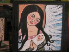 Folk Art Style Guardian Angel With Baby Print mounted by icColors, $15.00