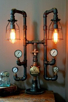 Steampunk Lamp Light Industrial Art Machine Age Salvage Steam Gauge in Collectibles, Lamps, Lighting, Lamps: Electric