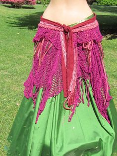 Tribal Belly Dance Pink front tie belt by MidnightOrchidDesign, $110.00