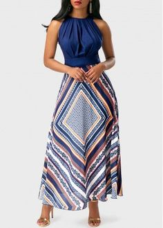Round Neck Sleeveless High Waist Printed Dress on sale only US$37.74 now, buy cheap Round Neck Sleeveless High Waist Printed Dress at liligal.com