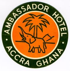 Ambassador Hotel - Accra Ghana, 1960 ca. by Unknown Artist | Shop original vintage #posters online: www.internationalposter.com Old Luggage, Vintage Luggage, Vintage Travel, Ambassador Hotel, Old Adage, Vintage Hotels, Luggage Labels, Generative Art, Out Of Africa