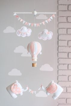 Pink and White Baby Mobile Hot Air Balloon by sunshineandvodka