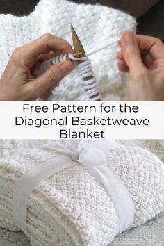 The Diagonal Basket Weave Stitch creates a lovely woven pattern, resulting in a . The Diagonal Basket Weave Stitch creates a lovely woven pattern, resulting in a warm comfortable th Baby Knitting Patterns, Free Baby Blanket Patterns, Knitted Blankets Pattern Free, Knitted Throw Patterns, Knit Blankets, Weaving Patterns, Knitting Ideas, Baby Blankets, Knitting Projects