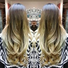 Did a stunning gold and beige blonde balayage ombre