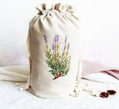 Delicate hand embroidery pouch with a beautiful lavander botanical embroidery for all lavender lovers. Embroidery Bags, Lavander, Linen Bag, Natural Linen, Delicate, Pouch, Lovers, Fabric, Cotton