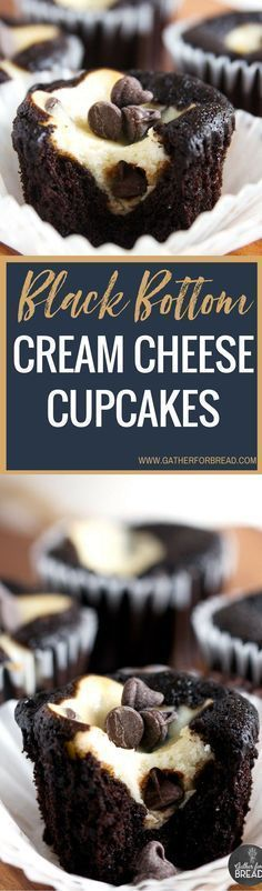 Black Bottom Cream Cheese Cupcakes - Best Easy recipe for dark chocolate cupcakes filled with a cream cheese chocolate chip filling. These cakes are moist, decadent and delicious! (best brownies with frosting) Brownie Desserts, Mini Desserts, No Bake Desserts, Just Desserts, Cupcake Recipes, Cupcake Cakes, Dessert Recipes, Cheesecake Recipes, Yummy Treats