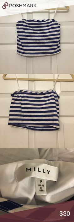 Milly striped cropped top Milly striped strapless crop top. Cotton/poly blend. Built in bra. Milly Tops Crop Tops