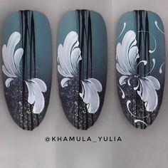 Manicure step by step Manicure Steps, Manicure E Pedicure, Fun Nails, Pretty Nails, Monogram Nails, Swirl Nail Art, Jolie Nail Art, Nagel Bling, Flower Nail Art
