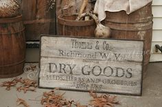 vintage signs reproductions | ... Early Antique Reproduction Primitive Wooden DRY GOODS, Herbs Sign