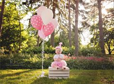 first birthday, 1, one, 1st, milestone, birthday, pink, tutu, trees, flowers, garden, park, outdoors, photos, pictures, photography, Crate, white, balloons, polka dot, little girl