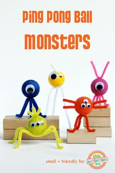 This monster craft is made from ping pong balls! Add some pipe cleaners and googley eyes and get creative.