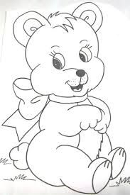 Imagen relacionada Teddy Bear Drawing Easy, Cute Bear Drawings, Art Drawings For Kids, Outline Drawings, Colorful Drawings, Cartoon Drawings, Animal Drawings, Easy Pencil Drawings, Bear Sketch