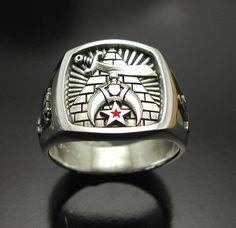 Shriner  Oxidized Finish  Masonic Ring 925 by ProLineDesigns, $175.00
