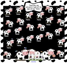 Cow Attendance with real moo sound and animation for SmartBoard from 1 2 3 Interactive Classro on TeachersNotebook.com (2 pages)