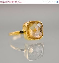 BOXING DAY SALE - Citrine Ring - November Birthstone Ring - Gemstone Ring - Stacking Ring - Gold Plated - Cushion Cut Ring by delezhen on Etsy https://www.etsy.com/listing/113356115/boxing-day-sale-citrine-ring-november